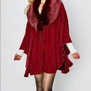 Jackets & Blazers - Burgundy Faux Fur-Trim Poncho Cape